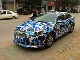 Wholesale Leopard Head Wraps - Blue Leopard Camo VINYL Full Car Wrapping Camouflage Foil Stickers with Camo truck covering foil with air free size 1.52 x 30m Roll