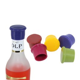 Wholesale Candies Wine Bottle - Bottle Cap Silicone Wine Stopper Cork Fresh Caps Beer Flavor Plug Stopple Lid Candy Colored Food Grade Durable Safety 0 90yb H1 R