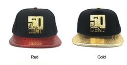 Wholesale Wholesale Youth Snapbacks - Snapback Caps Punk Youth Brand Gold Bling 50CENT HIPHOP Fashion Flat Brim Cap Faux Leather Adjustable Punk Hat Caps