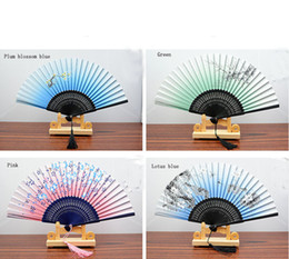 """Wholesale Glory Flower - 8.27 """" Women Hand Held Silk Folding Fans with Bamboo Frame for Gifts Chinese   Japanese Style Butterflies Morning Glory Flowers Patt"""