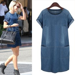 Wholesale Womens Plus Denim - summer new European wind plus fertilizer XL Womens MM fat thin denim Pure color dress