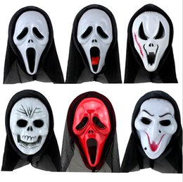 Wholesale Horror Scream - Halloween Costume Party Long Face Skull Ghost Scary Scream Mask Face Hood Scary Horror Terrible Mask with Hood