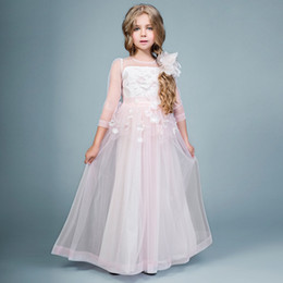 Wholesale Kids Dresses Cheap Prices - Cheap Price Girls Graduation Gown Kids Tulle A Line 3 4 Sleeves Toddler Pageant Dress Custom Made Flower Girl Dresses For Weddings