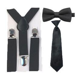 Wholesale Bowtie Suspenders - Wholesale- Hot Selling Solid Color Black Suspenders Dots Bowtie Ties Set Wedding Party 1-8 Years HHtr0007a05