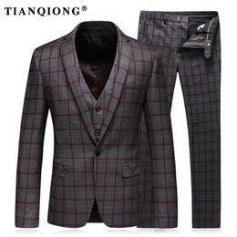 1b058581309 Mens Suits Slim Fit (Jacket+Vest+Pants) Set Modern Latest Coat Pants  Designs Solid Color Blue Tuxedo Prom Suits 2017