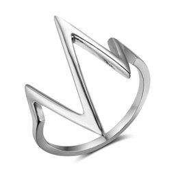 Wholesale unique simple rings - Size 6 7 8 New 925 Sterling Sliver Rings for Women Unique Design Lightning Heartbeat Shape Simple Jewelry