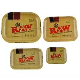 Wholesale Raw Tobacco - Raw Metal Rolling Tray Cigarette Smoking Rolling Tray Raw Tobacco Plate Mini Size 185mm*145mm Largest Size 350mm*280mm
