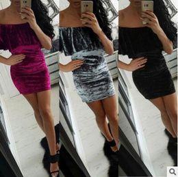 Wholesale Sexy Club Clothes Wholesale - Summer Dress Women 2017 Clothes Short Sleeve Off The Shoulder Slash Neck Dress Velvet Pleuche Women Clothing Dress DHL Free Shipping