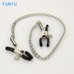 Wholesale Metal Collar Sex - Sexy Nipple Breast Clamps Metal Chain Women Adult Sex Toy for Couples Products Collars Metal Clips Stimulator Teaser Games 17403