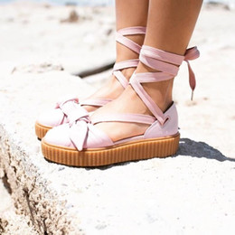 Wholesale Lace Bow Slippers - New Released Womens Rihanna Fenty Bow Creeper Sandal,Riri Leadcat Fashion Friar Brown Pink Nude Slippers 35-40