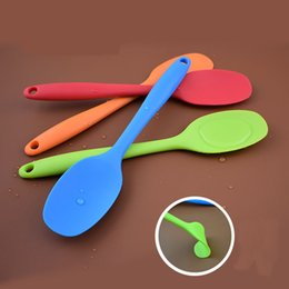 Wholesale Handles For Kitchen - Flexible Heat Resistant Integrate Handle Silicone Spoon Multifunction Scoop Scraper Spatula Ice Cream Cake For Shovel Kitchen Tool