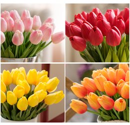 Wholesale Tulips Fake Flowers - 20pcs Artificial PU Mini Tulips Real Touch Flower Fake Leaf Home Party Garden Wedding Decor Pink   White   Green   Yellow