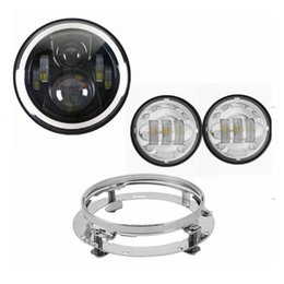 """Wholesale Road Glide Led - For Harley Davidson Electra Glide Softail Street Glide Road King 7"""" Motorcycle 40w Headlight LED w Chrome Mounting Bracket"""