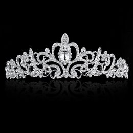 Wholesale Cheap Pageant Tiaras - Sparkly Beaded Crystals Wedding Crowns 2017 Hair Jewelry Headpiece Hair Crown Wedding Accessories For Pageant Party Tiara Cheap