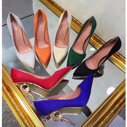 Wholesale Champagne Colour Shoes - 2017 Women shoes fasion item high end wear 100% silk on vamp sheepskin inside genuine leather tread heel high 11cm seven colour to choose