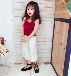 Wholesale Ruffle Leg Baby Pants - IINS baby girls sets fashion children wine red falbala tank top+ruffle wide legged pants 2 pc clothing sets toddler kids party clothes T3359