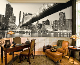 Wholesale Leather Wallpaper White - 3D seamless large murals New York black and white city night scene wallpaper living room TV background wallcloth adesivos de parede home