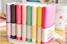 Wholesale Business Sheets - Cute Colorful Mini Smile Leather Notebook 7.5*.12.5 CM 192 Sheets Wire Bound 90g pc Fashion Diary for Business and Students