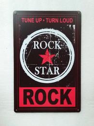 Wholesale Rustic Antique Decor - Rock Star Turn Loud Vintage Rustic Home Decor Bar Pub Hotel Restaurant Coffee Shop home Decorative Metal Retro Tin Sign