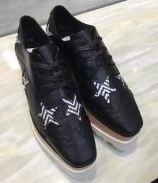 Wholesale Fashoin Shoes - Stella Mccartney Schoenen Fashoin Platform Women Shoes Black Genuine Leather Sneakers With Star