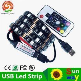 Wholesale Flexible Backlight - USB DC5V LED strip 5050 RGB Flexible Light 1 M 2 M TV RGB backlight Waterproof IP20   IP65 LED strip