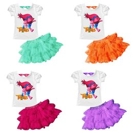 Wholesale Wholesale Lace Top Skirts - New summer baby girls outfits Trolls printing short sleeve top+TuTu lace skirts 2pcs set Trolls kids suit 6 colors C2313