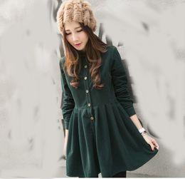 Wholesale Ladies Korean Winter Dresses - Wholesale- Sweet Navy 2016 Fashion Dress Women Winter japanese dress Korean Style College School All Match Corduroy Dress Lady Long Sleeve