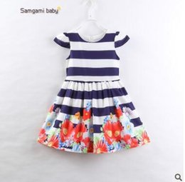 Wholesale Toddlers Outfit For Summer - Baby Girls Dress Outfit 2017 Summer Cotton Striped Floral Dress for Girls Cute Striped Dresses Ins Clothes Toddler Infant Floral Clothes 493