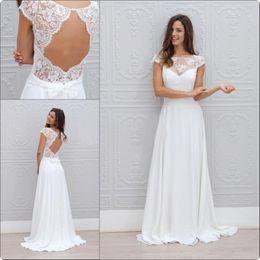 Wholesale Custom Made Gowns China - Bohemia Summer Beach Wedding Dresses 2017 Vestido De Noiva China Garden Backless Boho A-line Chiffon Bridal Gowns for Women