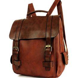 Wholesale Mens Backpack Brown Leather - Womens Shoulder Bag Backpack Leather Bookbag Rucksack Laptop School Bag Mens Unisex SMX2286