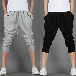 Wholesale Hot Capri Pants - Wholesale-2016 Hot Sale!! Fashion Casual Loose Mens Capri Cropped Pants Sweatpants Jogger Trousers 2 Colors M-XXL