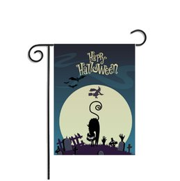 2019 bandiere decorativi da giardino Bandiere Eco-Friendly Halloween Hanging accessori per la casa in poliestere bandierina della bandiera Garden Witch Cat Masquerade Prop Decorative partito della decorazione bandiere decorativi da giardino economici