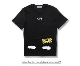 Wholesale 2017 Spring summer Europe T shirt tee streets off white Diagonal stripes Spray painting High street fashion clothing black white XL