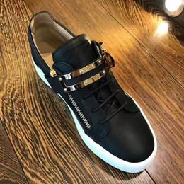 Wholesale Solid Black Sheets - Hot Sales Fashion Brand Shoes Men Women Casual Low Top Black Leather Sports Shoes Double Zipper Flat Men Sneakers Iron Sheets Shoes