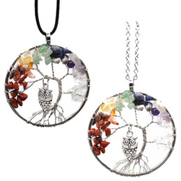 Wholesale Silver Natural Ruby Necklace - Tree of Life Necklace Tumbled Stone 2 Styles Chain Pendant 7 Chakra Natural Stone bead Jewelry Necklace Wire Wrapped B163S