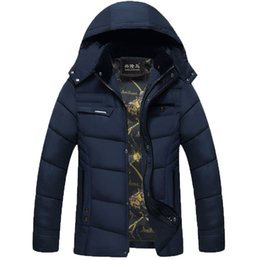 parkas for winter Promo Codes - Wholesale- Mens Cotton Filling Winter Parkas With Hat Warm Winter Jacket and Coat for Men Clothing 68