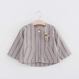 Wholesale Cute Korean Babies - Cute Little Girls Branch Trench Coats with Back Rabbit Ear 2017 Spring Kids Boutique Clothing Korean Baby Girls Outerwear