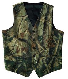 Wholesale Realtree Vest - Camouflage Mens Suit Vests Unique Groom Vests Farm Wedding Vest Spring Summer Autumn Realtree Camo Vest Male Slim Fit Waistcoat Men Vest+Tie