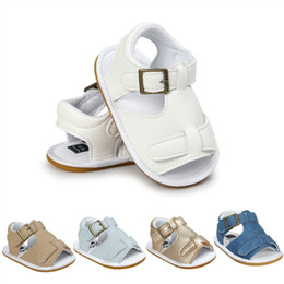 Wholesale Infant Shoes Gold - 2017 Summer Kids Shoes Baby boy Sandals Rubber sole strap Infants sandal Toddler PU leather Footwear denim gold 0-18months FREE DHL