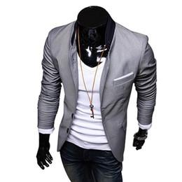 2019 esmoquin azul cielo Al por mayor-FGGS nuevos hombres con estilo Casual Slim Fit traje de dos botones Blazer Coat Ocio chaqueta Tops 3 colores tamaño EE. UU. XS-L