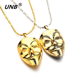 Wholesale Hacker Masks - Fashion Hip Hop Jewelry Movie V for Vendetta ANONYMOUS Mask Exaggerated Hacker Mask necklaces For Men And Women Colares Feminino
