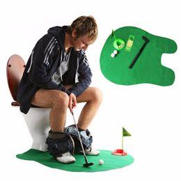 Wholesale Bathroom Golf Game - Funny Toilet Bathroom Mini Golf Mat Set Potty Putter Putting Game Men's Toy Novelty Gift