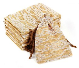 Wholesale Wedding Lace Patterns - Wedding Lace pattern candy bags cookie bags retro linen candy bag Classical Beam pocket Elegant wedding gifts