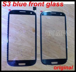 Wholesale S3 Glass Color - Original Front glass for Galaxy S3 Outer Screen Glass cover Lens for Samsung S3 i9300 blue color digitizer cover