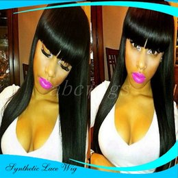 Wholesale Synthetic White Hair Bangs - Cheap Top Sales 200% Density Black Color Wigs Straight Synthetic Lace Front Wig with bangs and baby hair black women Glueless Heat Resistant