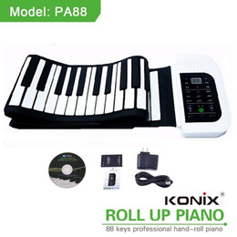 Wholesale Roll Up 128 - Wholesale- KONIX 88 Key White MIDI Flexible Electronic Roll Up Piano PA88 With Battery