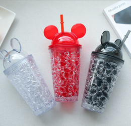 Wholesale Drinking Straws Red White - Summer double suction straw large capacity straw ice cup cold drink fruit juice home drinking glass cartoon Mickey shape ice cup Car cup
