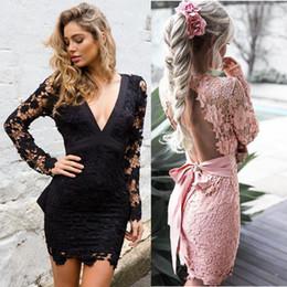 Sexy Robe Backless Lace Dress Deep V manga larga Mini Vestidos calado Crochet Club Party mujeres vestidos Vestido De Renda desde fabricantes