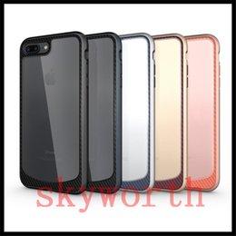 Wholesale iphone carbon fiber bumper - For Iphone 7 Plus Clear Hybrid Soft TPU + Metal Texture Carbon Fiber Bumper Armor Case Cover For Samsung Galaxy S8 Plus S7 edge