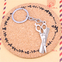 Wholesale Rings Scissors - New Fashion Car Keychain Silver Color Metal Key Chains Accessory, Vintage scissor comb Key Rings
